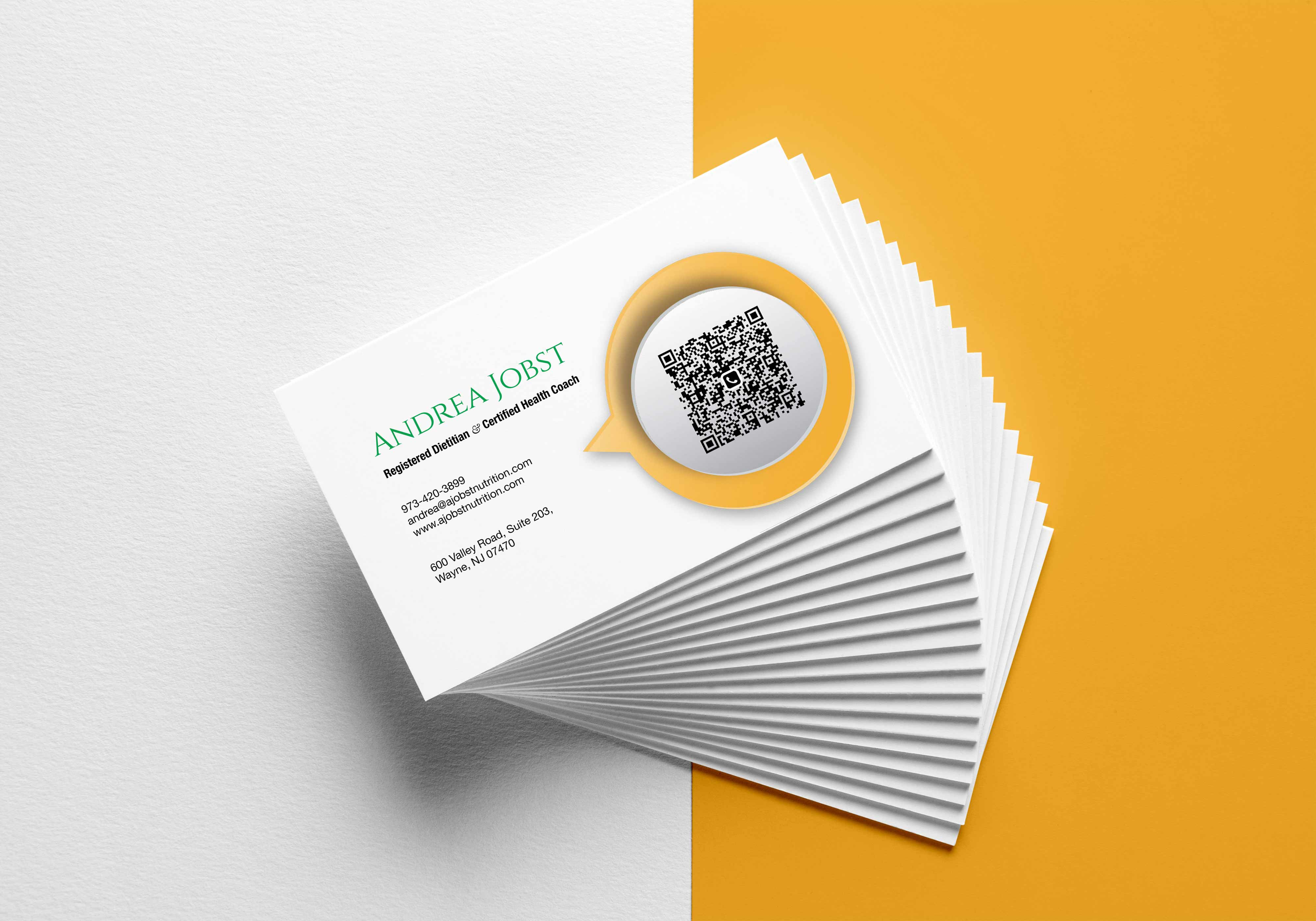 Business Cards for A Jobst Nutrition — Registered Dietitian & Certified Health Coach